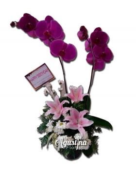 rangkaian bunga meja anggrek bulan surabaya 04
